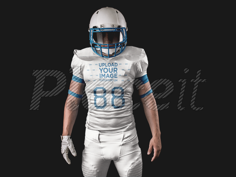 fb87291c4 Football Jersey Generator - Man Standing with Helmet On a15894Foreground  Image