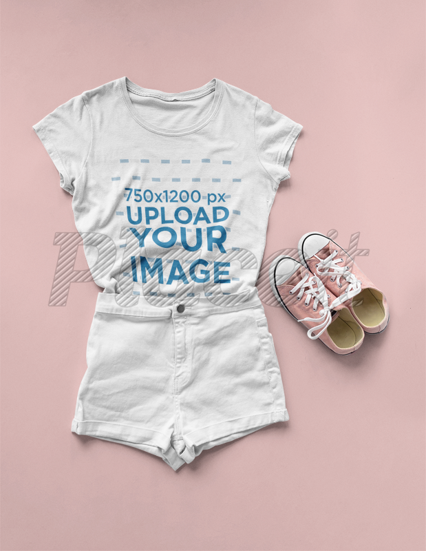 201cd2fd474ce T-Shirt Mockup Lying on a Solid Surface with a Flat Lay Outfit a17961