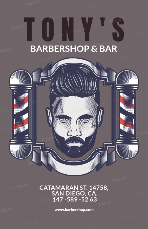 Placeit Flyer Template For A Barber Shop Blue Theme