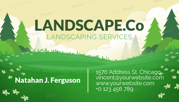Placeit Business Card Template For A Landscape Design Company