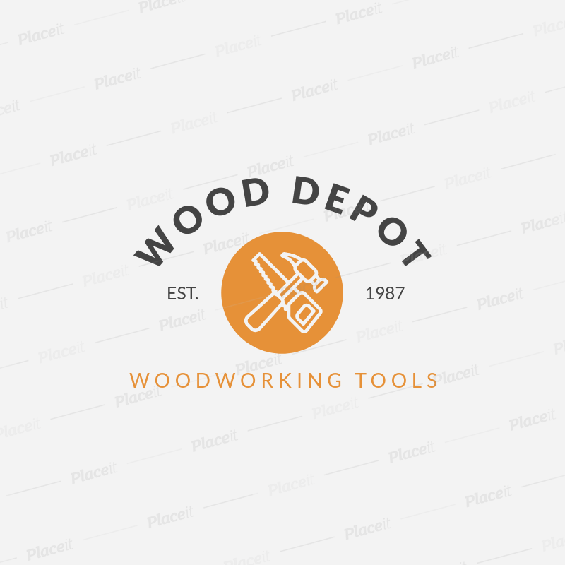 Placeit Woodwork Logo Design Maker For Woodworking Tools Store