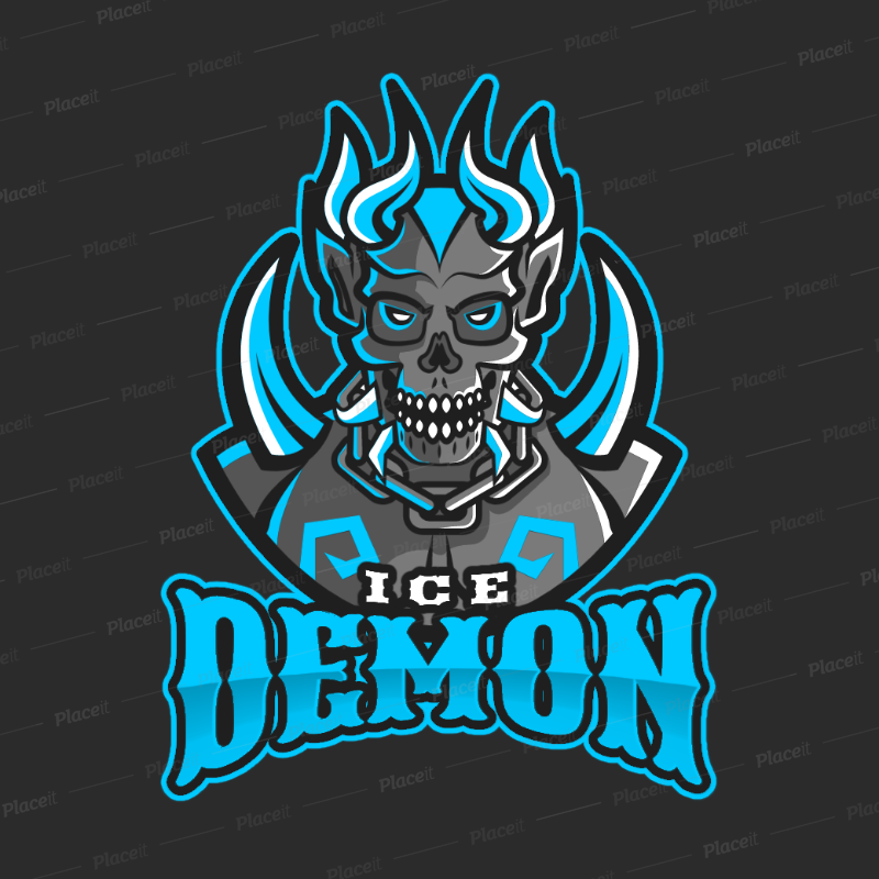 DOTA-Style Gaming Logo Maker Featuring a Demonic Character Illustration  2499w