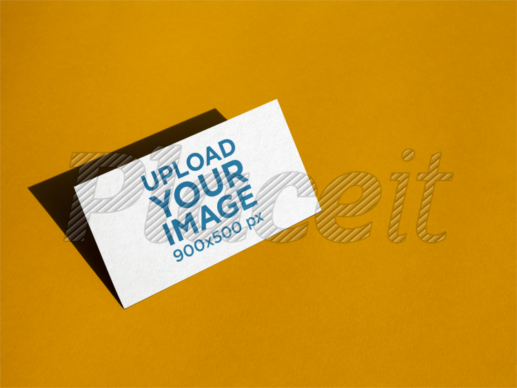 Placeit business card mockup standing angled on a yellow surface business card mockup standing angled on a yellow surface a14989foreground image colourmoves