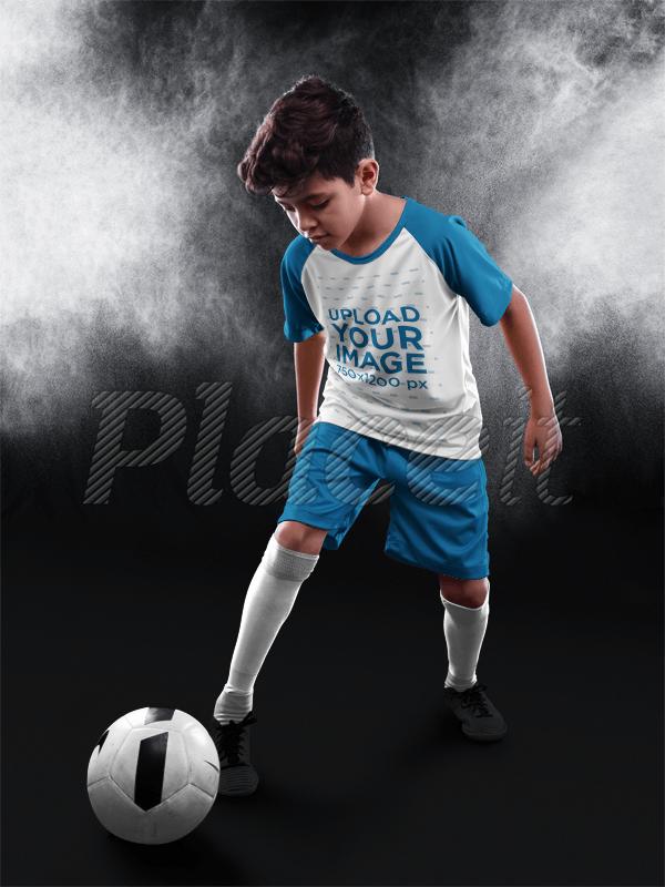 8f49147cc Placeit - Custom Soccer Jerseys - Kid Dribbling at the Studio