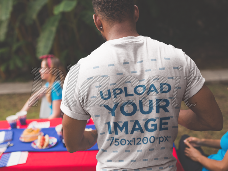 placeit back of a black man wearing a t shirt mockup at a 4th of