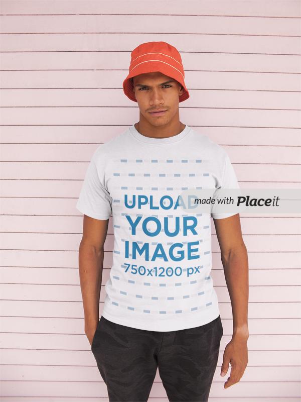 5ea9f80ec00 Placeit - T-Shirt Mockup of a Man Wearing a Bucket Hat