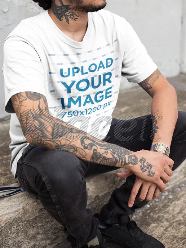 Placeit - Closeup of a Hispanic Tattooed Man Wearing a T-Shirt ...