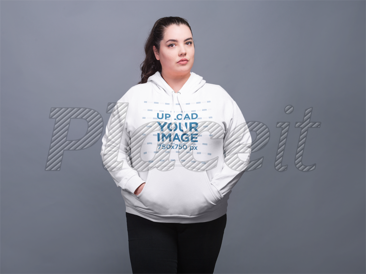 1c7157e65b4 Front Shot Mockup of a Woman Wearing a Plus Size Pullover Hoodie  21022Foreground Image