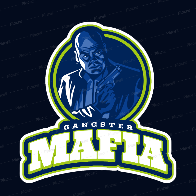 Gaming Logo Generator Featuring a Mafia Gangster with a Gun 21f