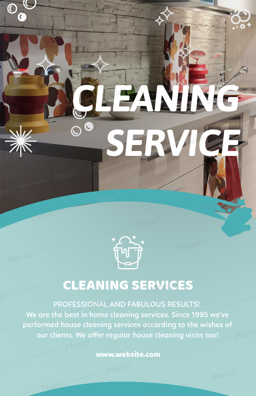 Placeit Flyer Template For House Cleaning Services