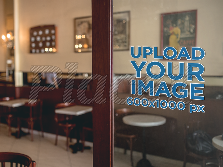 Mockup of a Door Window Decal Inside a Coffee Shop a14519Foreground Image & Placeit - Mockup of a Door Window Decal Inside a Coffee Shop