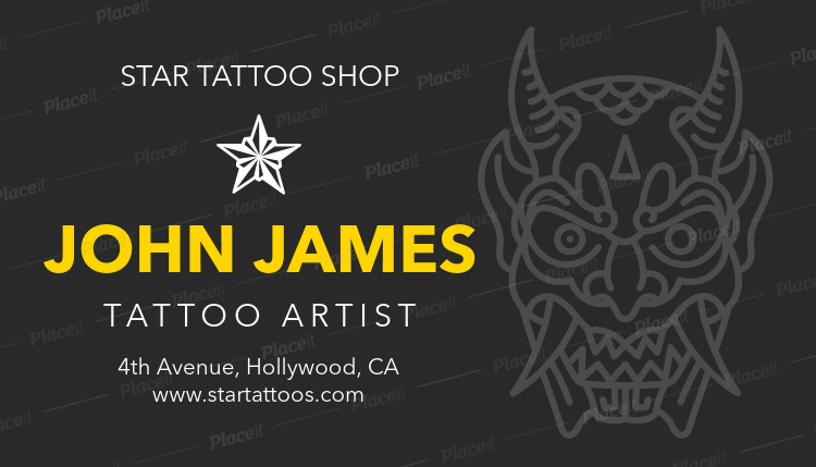 Placeit Custom Business Card Template For Top Tattoo Artists - Custom business card template
