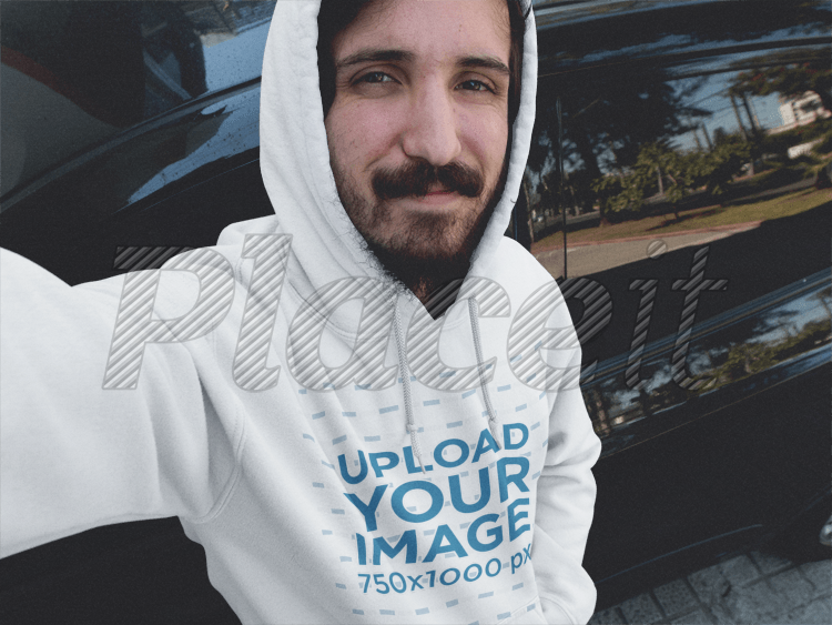 Hoodie Mockup Featuring A Young Man With A Beard Leaning Against A Car  A12900Foreground Image