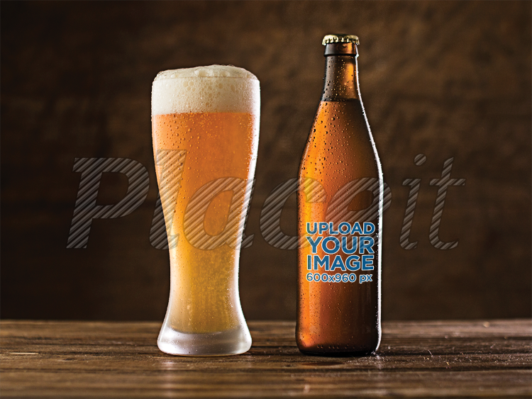 Placeit Beer Bottle Label Template With Witbier On Beer Glass On A - Beer bottle label template