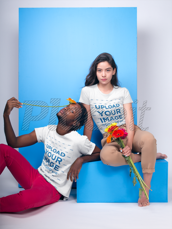 Excellent Interracial Couple Featuring A Black Dude And White Girl Wearing T Shirts Mockup Holding Flowers A19920 Squirreltailoven Fun Painted Chair Ideas Images Squirreltailovenorg