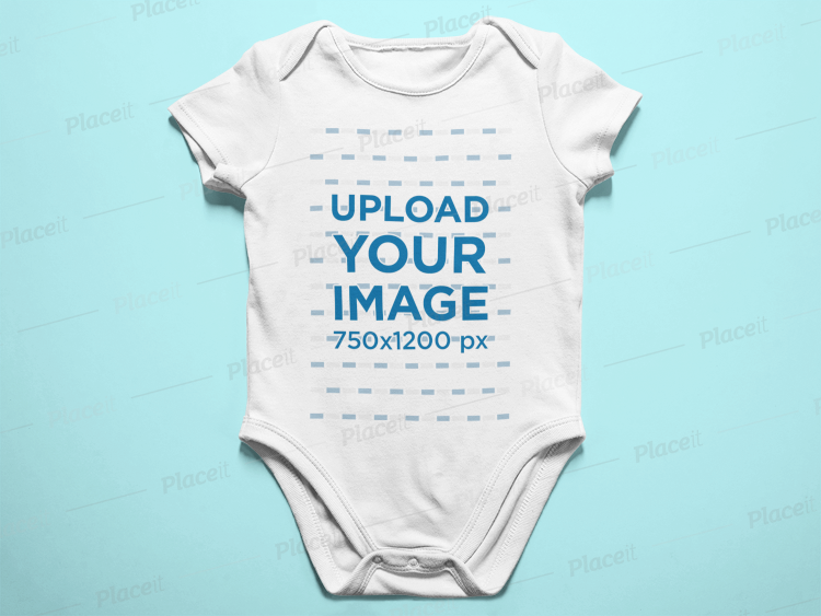 327561404 Baby Onesie Lying On A White Surface Mockup a14054Foreground Image
