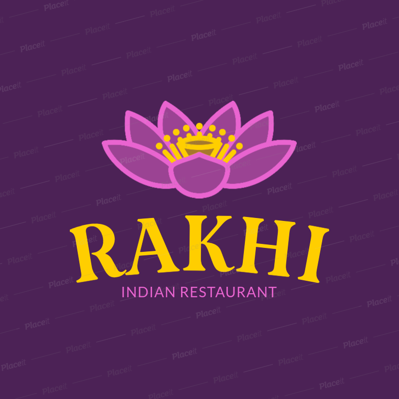 Placeit Indian Food Logo Creator With A Lotus Flower Clipart