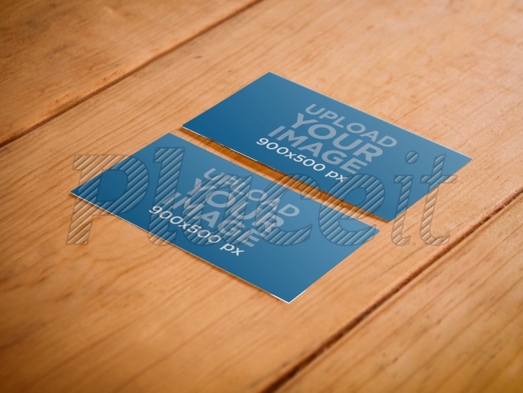 Placeit print mockup business cards on a wooden table business card both sidesforeground image reheart Choice Image