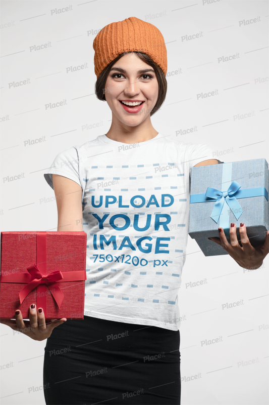 e1ef15d817dd2 T-Shirt Mockup Featuring a Joyful Woman Holding Christmas Boxes  23885Foreground Image