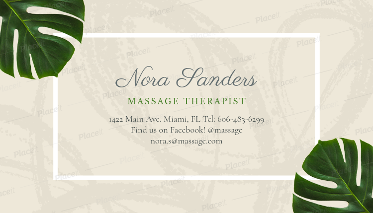 Placeit Massage Therapist Business Card Maker