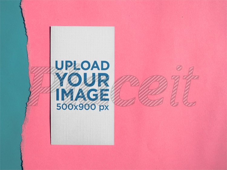 Placeit vertical business card mockup lying on pink ripped paper vertical business card mockup lying on pink ripped paper a15012foreground image colourmoves