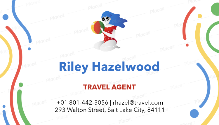 Placeit travel agent business card maker with illustrated characters travel agent business card maker with illustrated characters a300foreground image reheart Choice Image