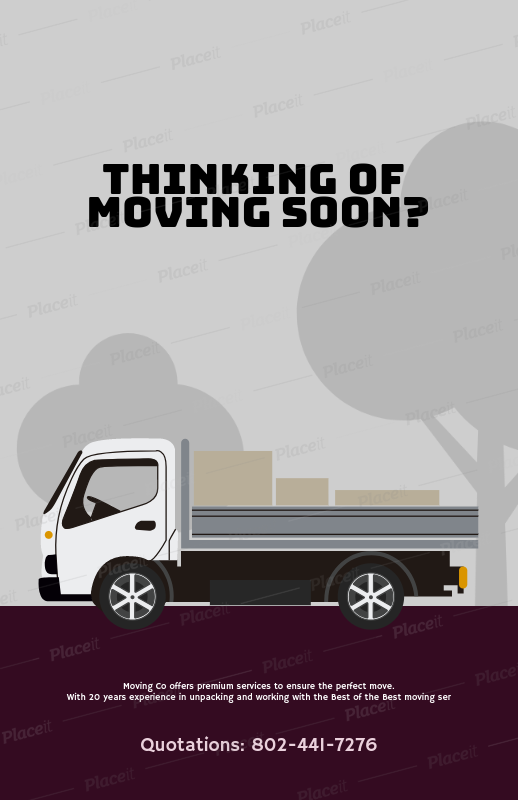 Placeit Moving Company Flyer Template With Illustration Graphics