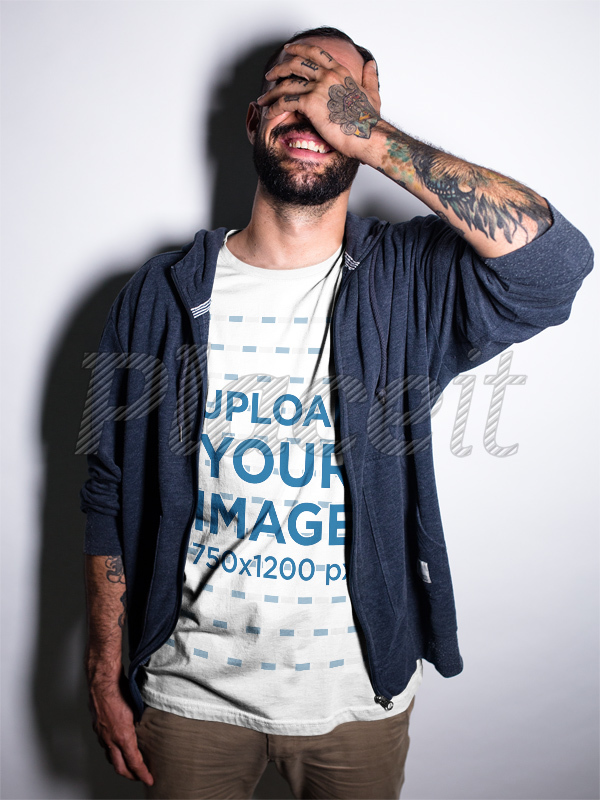 Placeit - Smiling Tattooed Man Wearing a T-Shirt While at a Studio ...