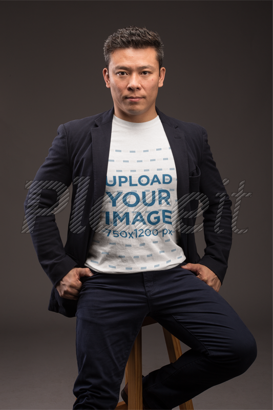 Strange T Shirt Mockup Of A Man Sitting Casually On A Wooden Stool 21240 Ocoug Best Dining Table And Chair Ideas Images Ocougorg
