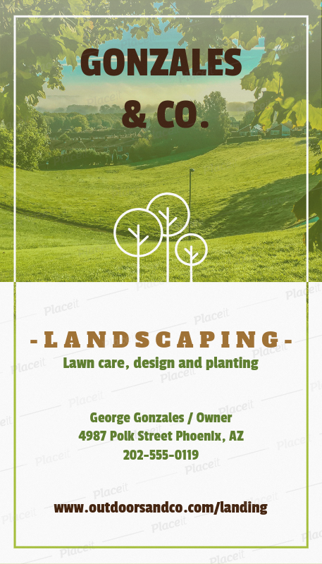Placeit Vertical Landscaping Business Card Template - Landscaping business card template