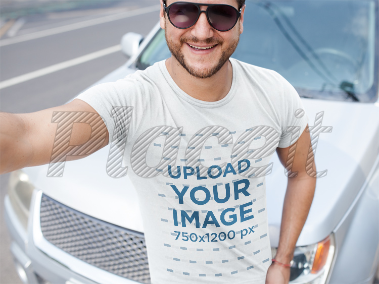 Smiling Middle Aged Dude Wearing A Tshirt Mockup While Near A Car  A15997Foreground Image